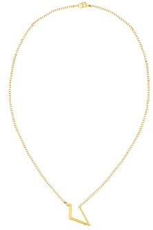 Gold Finish Geo Design Statement Necklace by Dhora