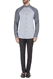 Light and Dark Grey Cut Way Shirt by Dhruv Vaish