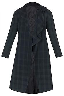 Black Drape Collar Long Overcoat by Dhruv Vaish