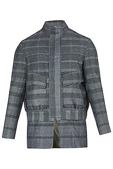Grey Checked Zipper Jacket