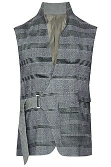 Grey Buckle Embellished Waist Coat