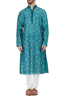 Teal Resist Dye Embroidered Kurta with Churidar Pants by Dhruv Vaish