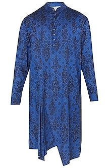 Royal Blue Digital Printed Kurta with Churidar Pants by Dhruv Vaish