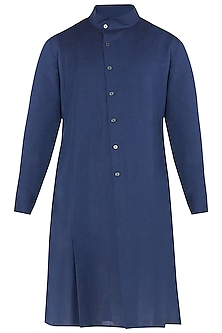 Navy Blue High Collar Kurta