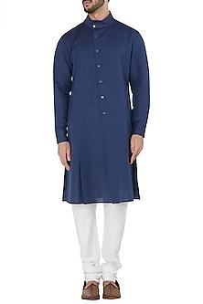 Navy Blue High Collar Kurta by Dhruv Vaish