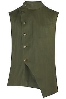 Moss Green Overlap Nehru Jacket