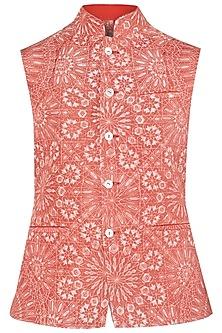 Crimson Resist Dye Quilted Nehru Jacket
