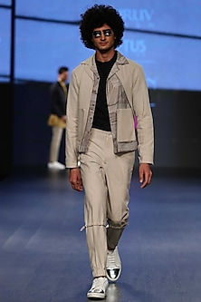 Sandstone Sport Gathered High Waisted Pants by Dhruv Vaish