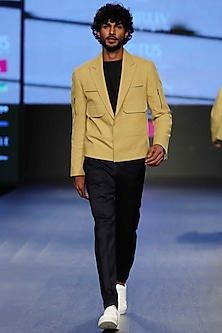Yellow Buff Crop Jacket by Dhruv Vaish