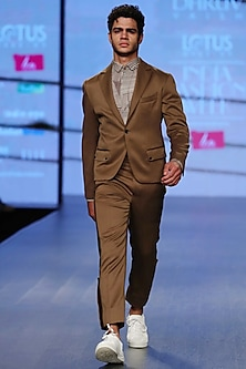 Saddle Brown High Waisted Straight Fit Trouser Pants by Dhruv Vaish