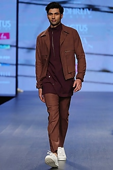 Saddle Brown High Neck Long Shirt by Dhruv Vaish