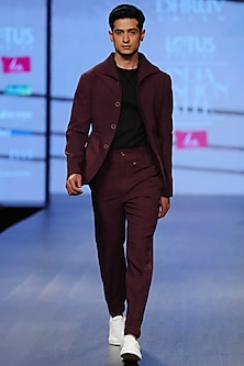 Deco Plum Hood Jacket by Dhruv Vaish