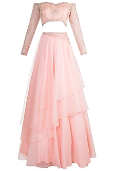 Peach Embroidered Off Shoulder Lehenga Set by Dhwaja