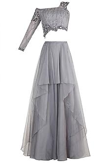 Grey Embroidered Layered Lehenga Set by Dhwaja