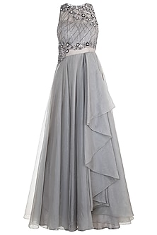 Grey Embroidered Layered Gown by Dhwaja