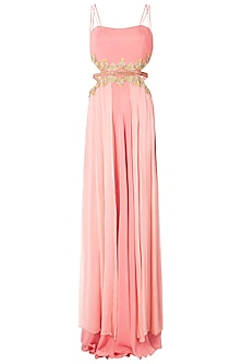 Rose Pink Cut Out Embroidered Gown