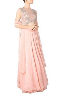 Powder Pink Embroidered Lehenga Set by Dhwaja