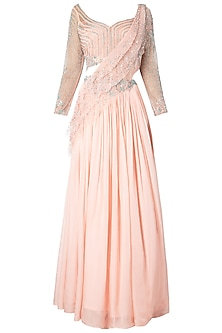 Powder Pink Embroidered Lehenga Saree with Blouse by Dhwaja