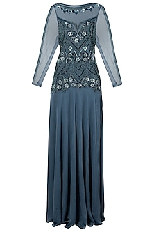 Polo Blue Embroidered Gown