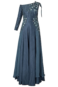 Polo Blue Off Shoulder Embroidered Gown