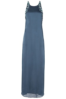 Polo Blue Embellished Cross Back Gown