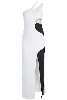 Black & White One Shoulder Gown by Disha Kahai
