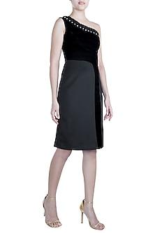 Black Pleated Frill Dress by Disha Kahai