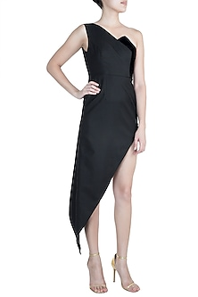 Black Asymmetrical One Shoulder Dress by Disha Kahai
