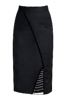 Black Studded Skirt by Disha Kahai