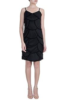 Black Velvet Scallop Dress by Disha Kahai