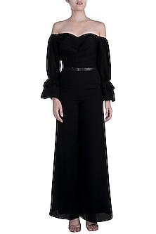 Black Off Shoulder Jumpsuit With Belt by Disha Kahai