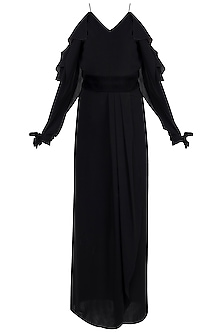 Black Front Slit Gown With Velvet Belt by Disha Kahai