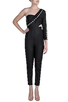 Black One Shoulder Blazer Jumpsuit by Disha Kahai