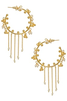 Gold Plated Pearl Embellished Baalis by Digna