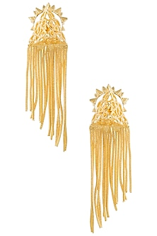 Gold Plated Triangular Pyramid Earrings by Digna