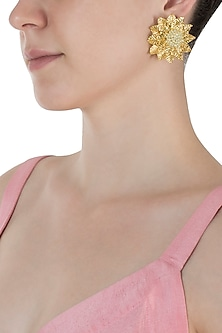 Gold Plated Layered Flower Earrings by Digna