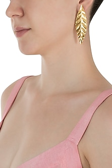 Gold Plated Long Leaf Earrings