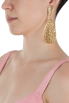 Gold Plated Long Filigree Earrings