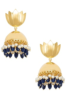 Gold Plated Lotus Pattern Jhumki Earrings by Digna