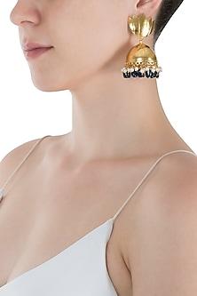 Gold Plated Lotus Pattern Jhumki Earrings