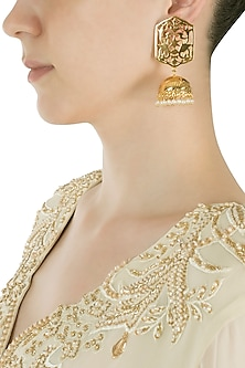 Gold Plated Indian Motif Peacock Earrings
