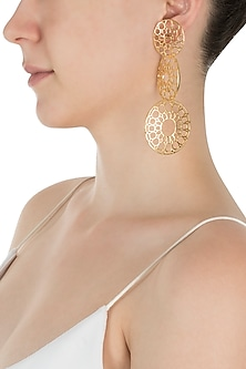 Gold Plated Three Wheel Earrings