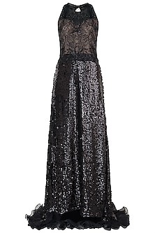 Black embroidered A-line gown