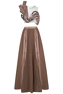 Brown pleated blouse with lehenga skirt