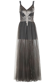 Steel grey embroidered gown
