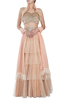 Peach embroidered lehenga set by Disha Kahai