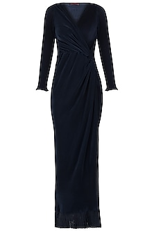 Navy blue pleated gown by Disha Kahai