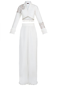 Ivory embroidered jacket with palazzo pants