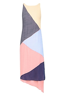 Multicolor Geometric Patchwok Maxi Dress