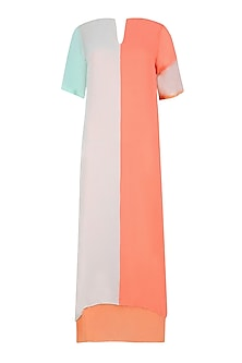 Mint Green and Salmon Colorblock Dress